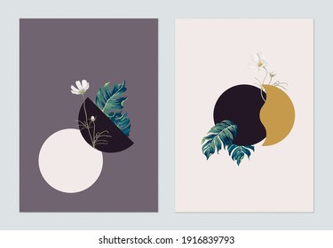 Minimalist abstract poster template design, various shapes decorated with plants and flowers
