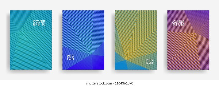 Minimalist annual report design vector collection. Gradient halftone grid texture cover page layout templates set. Report covers geometric design, business booklet pages corporate backgrounds.