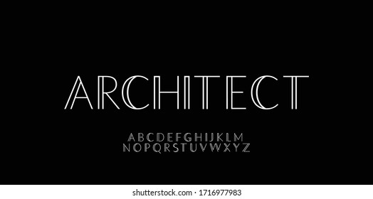 Minimalist architect font style design templates - Shutterstock ID 1716977983
