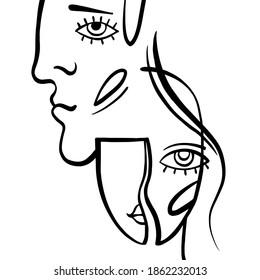 Minimalistische Avatar von Mann, Frau, Line Art. Minimaler Kubismus Gesicht in abstraktem Stil. Schwarz-Weiß-Design für modernes Plakat, zeitgenössische Tapeten-Dekoration, Stoffdruck, gemalte Menschen-Hintergrund