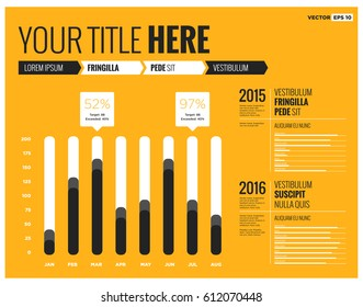 Minimalist Bar Graph Template In Flat Style Design With Infographic Elements