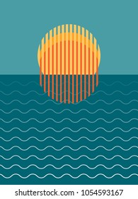 Minimalist Beautiful Sunset Over Ocean Vector Illustration