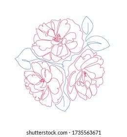 Minimalist botanical art. Floral line art with Peony flowers and leaves. One line drawing for card, print, tattoo or poster. - Vector illustration