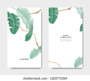 Minimalist botanical card template design, banana leaves with golden line on white, pastel vintage theme
