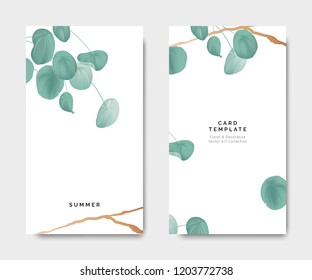 Minimalist botanical card template design, Pilea peperomioides plant with golden line on white, pastel vintage theme