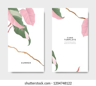 Minimalist botanical card template design, Philodendron pink princess plant with golden line on white, pastel vintage theme
