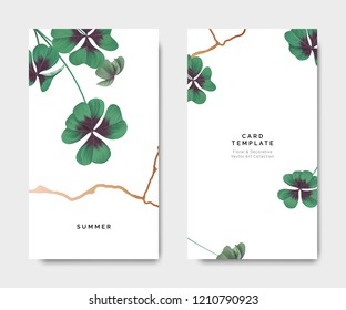 Minimalist botanical card template design, Oxalis tetraphylla or lucky clover with golden line on white, pastel vintage theme