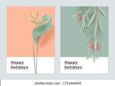 Minimalist botanical greeting card template design, heliconia rostrata and bottle brush tree