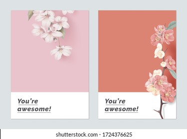 Minimalist botanical greeting card template design, Somei Yoshino sakura and Japanese quince flowers