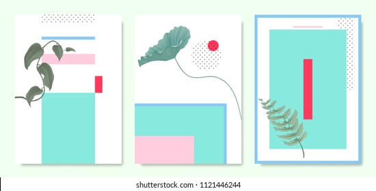 Minimalist botanical invitation card template design, plants and pastel symmetry shapes, blue and pink tones