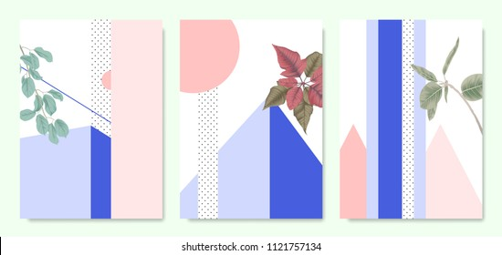 Minimalist botanical invitation card template design, plants and pastel symmetry shapes, purple and pink tones