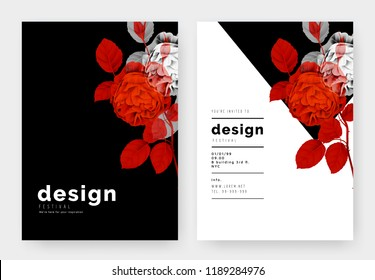 Minimalist botanical invitation card template design, roses in vibrant red and white on black