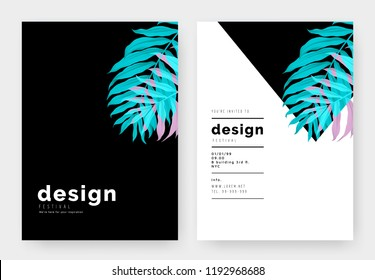Minimalist botanical invitation card template design, Dypsis lutescens or yellow palm in vibrant blue and pink on black