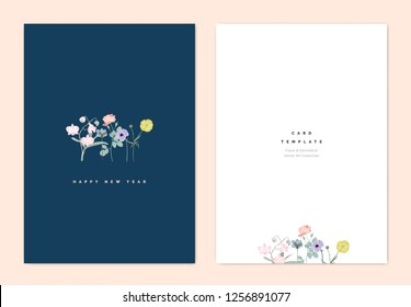 Minimalist botanical new year greeting card template design, creeping buttercup, Dendrobium orchid, Hepatica Nobilis, rose, anemone and creeping buttercup flowers on dark blue, vintage style