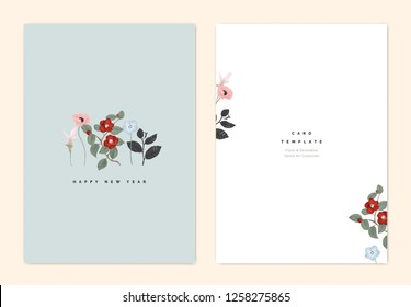 Minimalist botanical new year greeting card template design, Curcuma alismatifolia, poppy, Nemophila and red Japanese camellia flowers on light blue, vintage style
