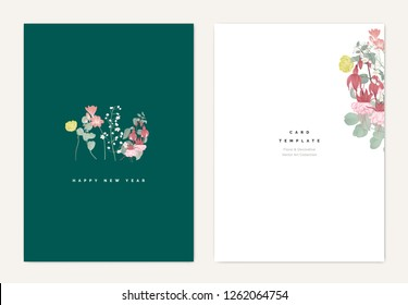 Minimalist botanical new year greeting card template design, creeping buttercup, eucalyptus leaves, freesia, Thalictrum delavayi and Fuchsia icy pink flowers on green, vintage style