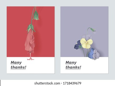 Minimalist botanical thank you card template design,sleeping hibiscus and pansies