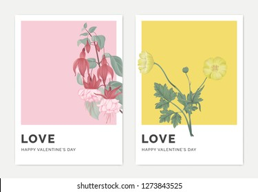 Minimalist botanical valentine greeting card template design, Fuchsia icy pink flowers on pink and creeping buttercup flowers on yellow