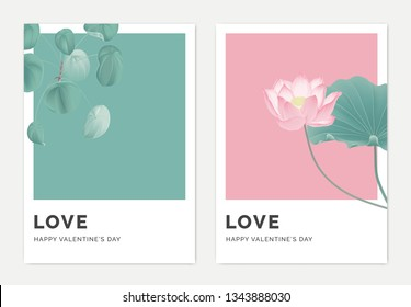 Minimalist botanical valentine greeting card template design, Pilea peperomioides plant on green and lotus on pink