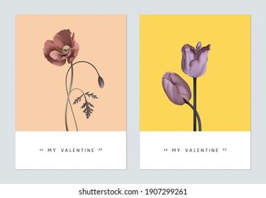 Minimalist botanical valentine greeting card template design, poppy and tulip flowers
