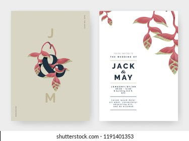 Minimalist botanical wedding invitation card template design, Heliconia rostrata flowers with lettering on brown, pastel vintage theme