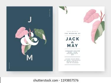 Minimalist botanical wedding invitation card template design, Philodendron pink princess plant with lettering on dark blue, pastel vintage theme