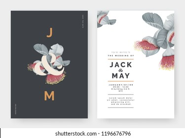 Minimalist botanical wedding invitation card template design, Eucalyptus rhodantha flowers or rose mallee with lettering on dark grey, pastel vintage theme