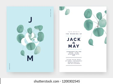 Minimalist botanical wedding invitation card template design, Pilea peperomioides plant with lettering on blue, pastel vintage theme