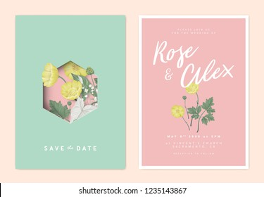 Minimalist botanical wedding invitation card template design, creeping buttercup and leaves, green and light red vintage theme