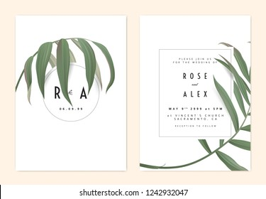 Minimalist botanical wedding invitation card template design, green bamboo palm leaves with circle and rectangle frames on white