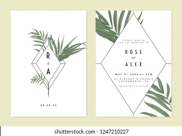Minimalist botanical wedding invitation card template design, green bamboo palm leaves and diamond frame on white
