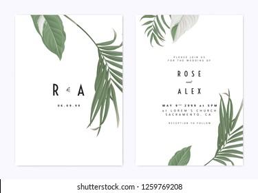 Minimalist botanical wedding invitation card template design, green bamboo palm leaves and Syngonium podophyllum albo-variegatum plant on white