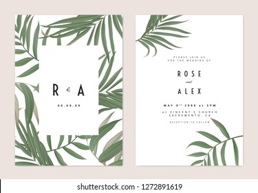 Minimalist botanical wedding invitation card template design, green bamboo palm leaves pattern on white