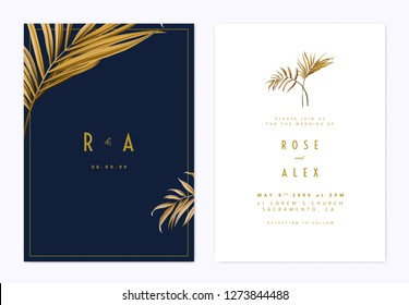 Minimalist botanical wedding invitation card template design, golden bamboo palm leaves, golden and dark blue theme