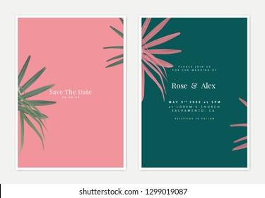 Minimalist botanical wedding invitation card template design, bamboo palm on pink and green