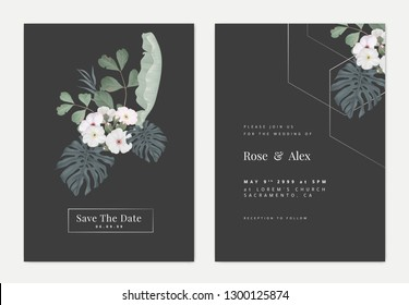Minimalist botanical wedding invitation card template design, Woolly rock jasmine flowers and various leaves on dark grey