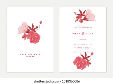 Minimalist botanical wedding invitation card template design, bouquet of flowers and leaves in red tones on white background