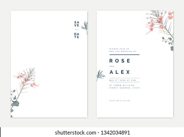 Minimalist botanical wedding invitation card template design, pink peacock and leaves on white