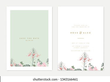 Minimalist botanical wedding invitation card template design, pink peacock and pink Alcea or hollyhocks flowers on light green, pastel vintage theme