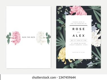 Minimalist botanical wedding invitation card template design, Chrysanthemum morifolium flowers with leaves, vintage theme