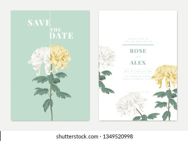 Minimalist botanical wedding invitation card template design, yellow and white Chrysanthemum morifolium flowers with leaves on blue, pastel vintage theme