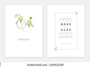 Minimalist botanical wedding invitation card template design, yellow creeping buttercup and blue Nemophila flowers decorated on couple rings, pastel vintage theme