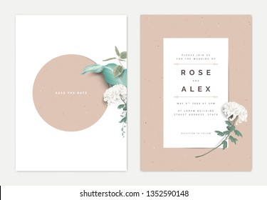 Minimalist botanical wedding invitation card template design, white Chrysanthemum morifolium flower with leaves on white, vintage theme