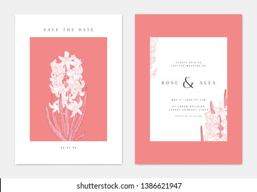 Minimalist botanical wedding invitation card template design, hyacinth flowers with leaves line art ink drawing, red and white tones