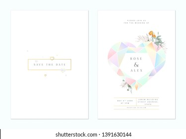Minimalist botanical wedding invitation card template design, heart shaped cut gemstone decorated with leaves on white, pastel theme