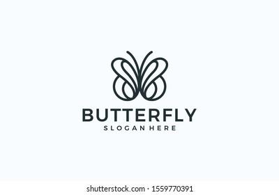 Minimalist butterfly line logo concept