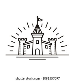 Minimalist Castle Line art logo design inspiration