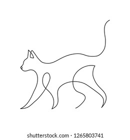 Minimalist cats in abstract hand drawn style, minimalist one line drawing