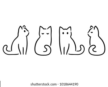 Minimalist cats drawing set. Cat doodles in abstract hand drawn style, black and white line art vector illustration.