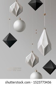 Minimalist Christmas background with contemporary geometrical decorations